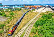 A China-Europe freight train loaded with medical supplies and electronic equipment departs from Chengdu International Railway Port in Chengdu, capital of southwest China's Sichuan province, for Felixstowe, the U.K., April 26, 2021. (Photo by Bai Guibin/People's Daily Online)