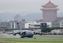 The Taiwan capital Taipei in this file shot showing a US Air Force transport aircraft C17A carrying three US senators landing at Songshan Airport on June 6, 2021. Photo: Handouts/ Taiwan Central News Ag/ZUMA Wire/dpa