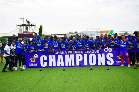 Hearts of Oak players celebrate winning the Ghana Premier League (GPL) at Sogakope Park on July 17. (Photo courtesy of Ghana Football Association)