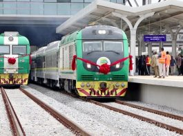 A ceremony is held to mark the operation of the Lagos-Ibadan railway in Nigeria constructed by China Civil Engineering Construction Corporation (CCECC), June 10, 2021. (Photo by CCECC)