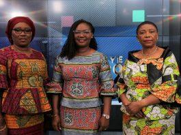 President Of Wista Ghana And Trustee Of Wimowca Jamilat Jawulaa Mahamah Left President Of Wimowca Sylvia Asana Dauda Owu Middle Executive Member Of Wimowca Caroline Mawandji Right