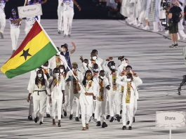 Olympic delegation of Ghana parade into Olympic Stadium during the opening ceremony of Tokyo 2020 Olympic Games in Tokyo, Japan, July 23, 2021. (Xinhua/Zheng Huansong)