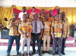 Reverend Paul Morgan Adorsu (middle on front row) in group photograph with members of GCCI Maranatha Assembly Men's Ministry