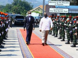 President of the Democratic Republic of the Congo (DRC) Felix Tshisekedi (C-R) welcomes Rwandan President Paul Kagame (C-L) in Goma, North Kivu province, DR Congo, on June 26, 2021. The Democratic Republic of the Congo (DRC) and Rwanda signed on Saturday three agreements on bilateral cooperation after a meeting between the two heads of state in Goma. (DR Congo's presidency/Handout via Xinhua)
