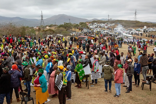 Supporters of former South African President Jacob Zuma gather outside his home in Nkandla, Kwazulu Natal, South Africa, July 4, 2021. The police said on July 7, 2021 that Jacob Zuma surrendered himself to the police late Wednesday night. (Photo by Yeshiel/Xinhua)