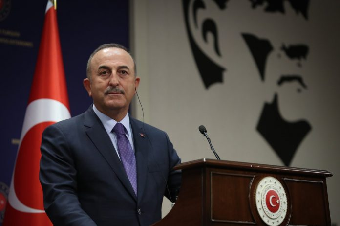 Foreign Minister Mevlüt Çavuşoğlu speaks at a joint news conference with his Palestinian counterpart in the capital Ankara, Turkey, May 7, 2021. (AA Photo)