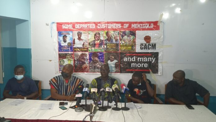 Coalition of Aggrieved Customers of Menzgold (CACM), addressing the media