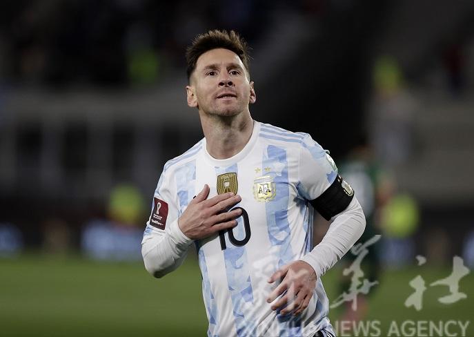 South American Qualifiers - Argentina v Bolivia - El Monumental, Buenos Aires, Argentina - September 9, 2021 Argentina's Lionel Messi celebrates scoring their first goal Pool via REUTERS/Juan Ignacio Roncoroni