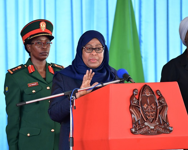 Tanzanian President Samia Suluhu Hassan (Front) delivers a speech in Dodoma, capital of Tanzania, on March 31, 2021. Tanzanian President Samia Suluhu Hassan on Wednesday announced the appointment of new finance minister and foreign minister in a cabinet reshuffle. (Tanzanian State House/Handout via Xinhua)