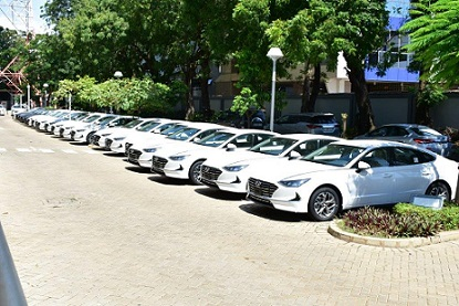 Brand New Hyundai Sonata Cars Parked At Mtn House Ready For Presentation To Winners